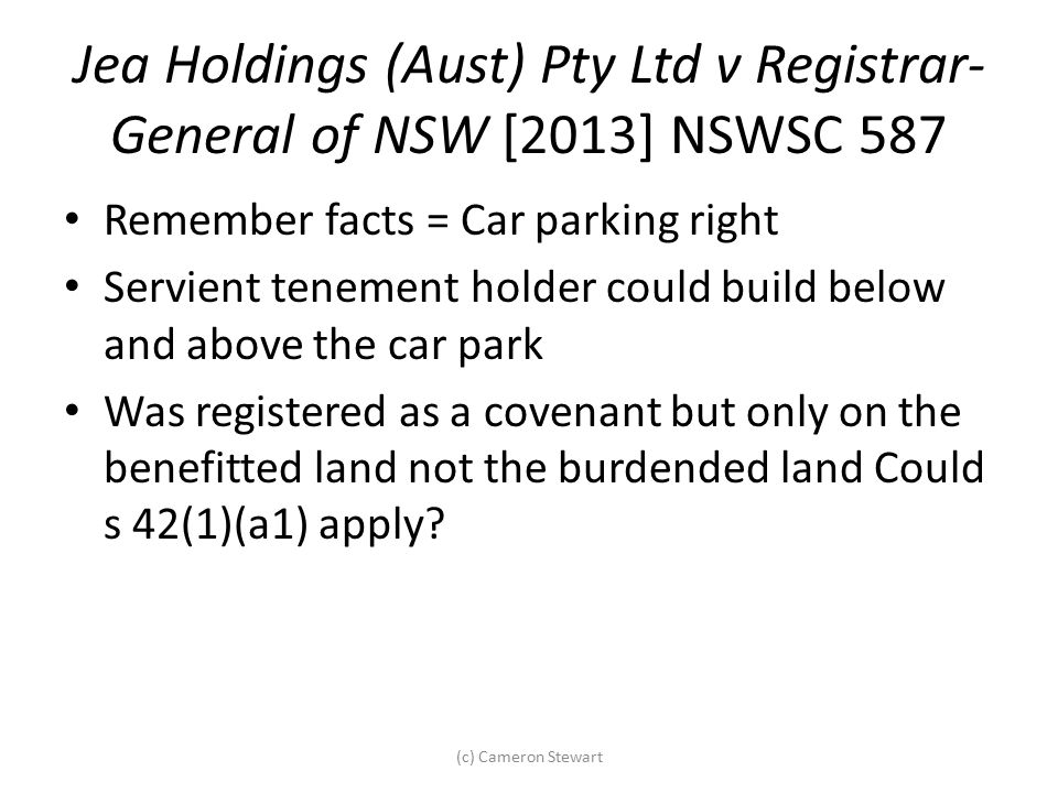 Jea Holdings (Aust) Pty Ltd v Registrar-General of NSW [2013] NSWSC 587